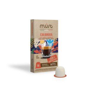 Caffè monorigine Colombia, capsule compostabili, Must Espresso Italiano