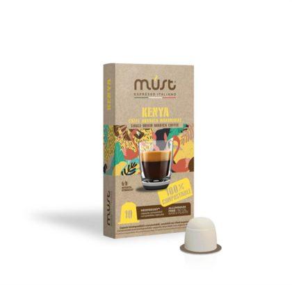 Caffè monorigine Kenya, capsule compostabili, Must Espresso Italiano